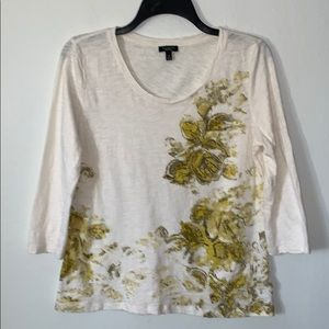 Talbots 100% cream cotton floral patterned front